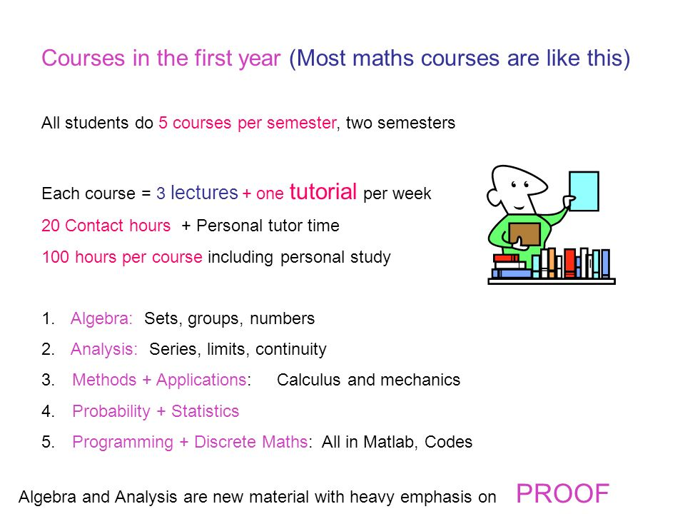 Courses in the first year (Most maths courses are like this) All students do 5 courses per semester, two semesters Each course = 3 lectures + one tutorial per week 20 Contact hours + Personal tutor time 100 hours per course including personal study 1.