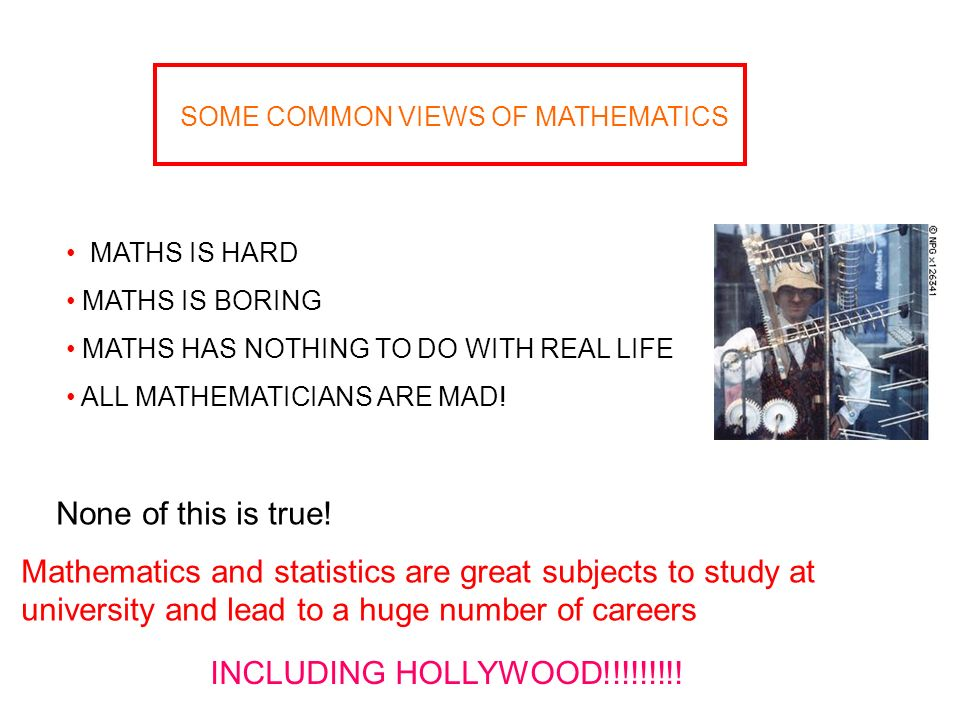 SOME COMMON VIEWS OF MATHEMATICS MATHS IS HARD MATHS IS BORING MATHS HAS NOTHING TO DO WITH REAL LIFE ALL MATHEMATICIANS ARE MAD.