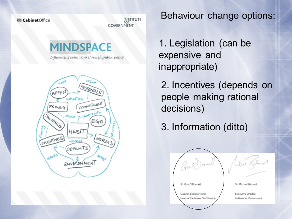 Behaviour change options: 1. Legislation (can be expensive and inappropriate) 2.