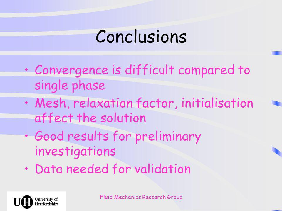 Fluid Mechanics Research Group Conclusions Convergence is difficult compared to single phase Mesh, relaxation factor, initialisation affect the solution Good results for preliminary investigations Data needed for validation