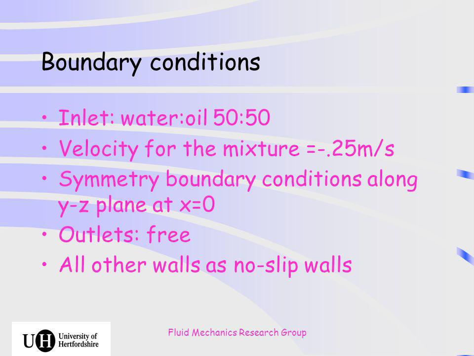 Fluid Mechanics Research Group Boundary conditions Inlet: water:oil 50:50 Velocity for the mixture =-.25m/s Symmetry boundary conditions along y-z plane at x=0 Outlets: free All other walls as no-slip walls