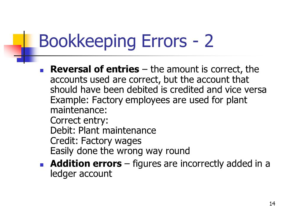 14 Bookkeeping Errors - 2 Reversal of entries – the amount is correct, the accounts used are correct, but the account that should have been debited is