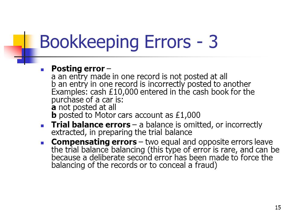 15 Bookkeeping Errors - 3 Posting error – a an entry made in one record is not posted at all b an entry in one record is incorrectly posted to another