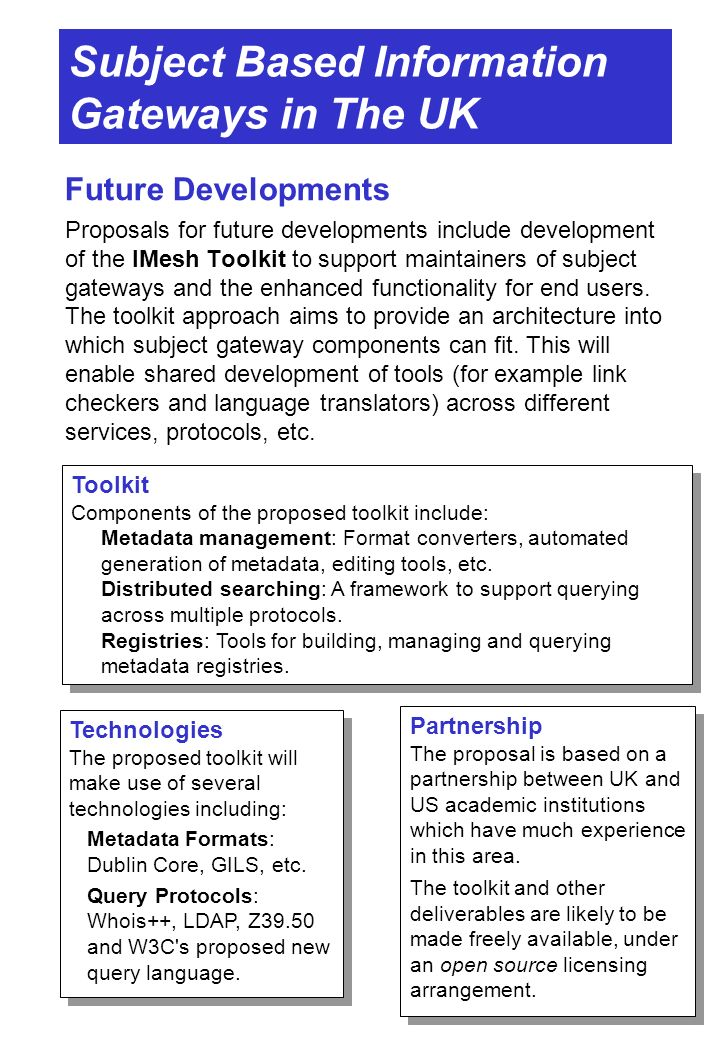 Subject Based Information Gateways in The UK Future Developments Proposals for future developments include development of the IMesh Toolkit to support