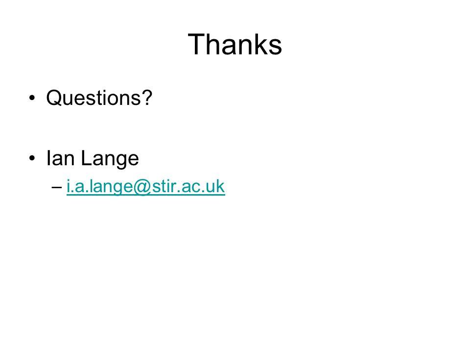 Thanks Questions? Ian Lange –i.a.lange@stir.ac.uki.a.lange@stir.ac.uk