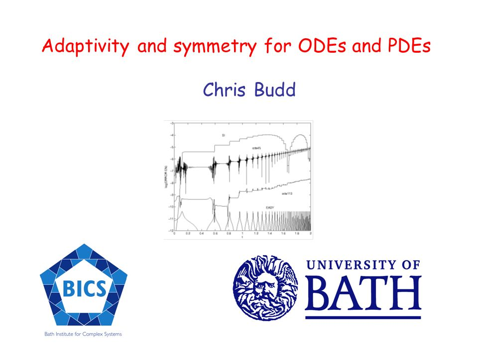 Adaptivity and symmetry for ODEs and PDEs Chris Budd