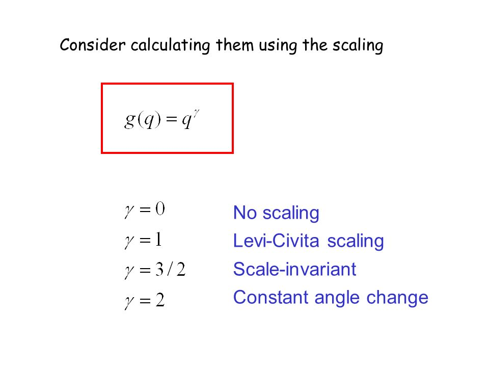 Consider calculating them using the scaling No scaling Levi-Civita scaling Scale-invariant Constant angle change