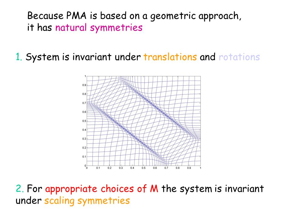 Because PMA is based on a geometric approach, it has natural symmetries 1.
