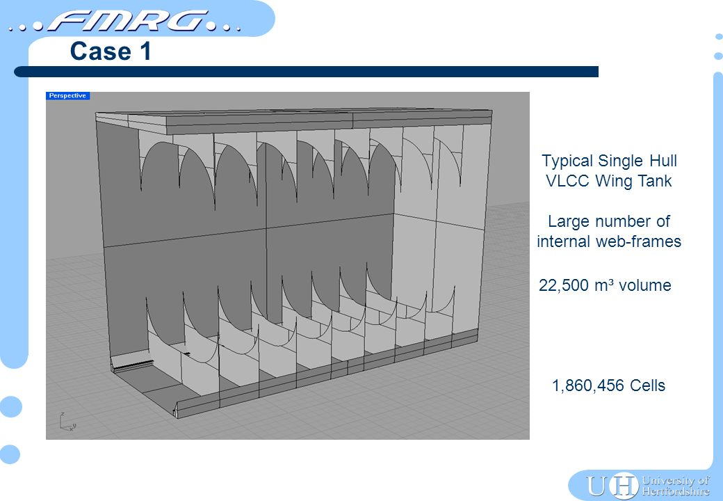 22,500 m³ volume 1,860,456 Cells Typical Single Hull VLCC Wing Tank Large number of internal web-frames Case 1