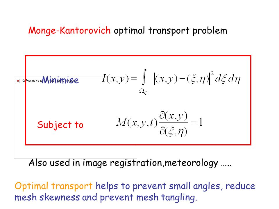 Monge-Kantorovich optimal transport problem Minimise Subject to Also used in image registration,meteorology …..