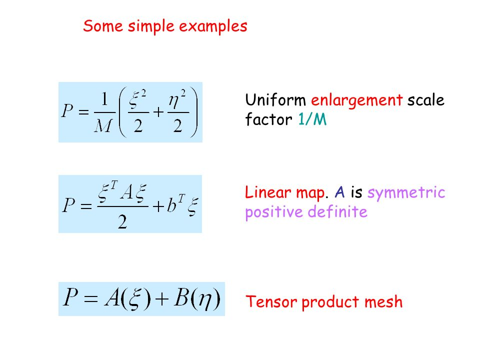 Some simple examples Uniform enlargement scale factor 1/M Linear map. A is symmetric positive definite Tensor product mesh