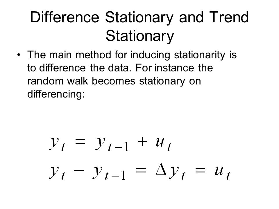 Difference Stationary and Trend Stationary The main method for inducing stationarity is to difference the data. For instance the random walk becomes s