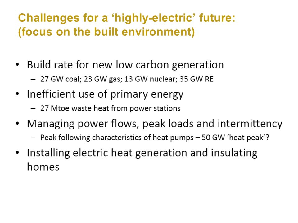 Challenges for a highly-electric future: (focus on the built environment)