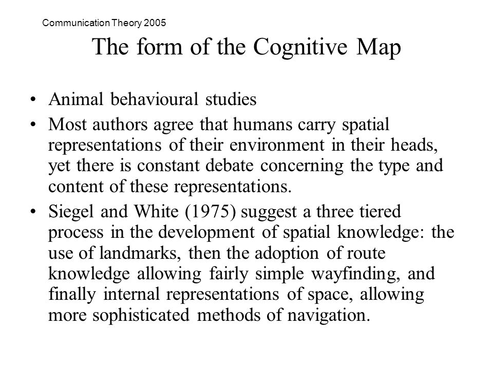 Communication Theory 2005 The form of the Cognitive Map Animal behavioural studies Most authors agree that humans carry spatial representations of their environment in their heads, yet there is constant debate concerning the type and content of these representations.