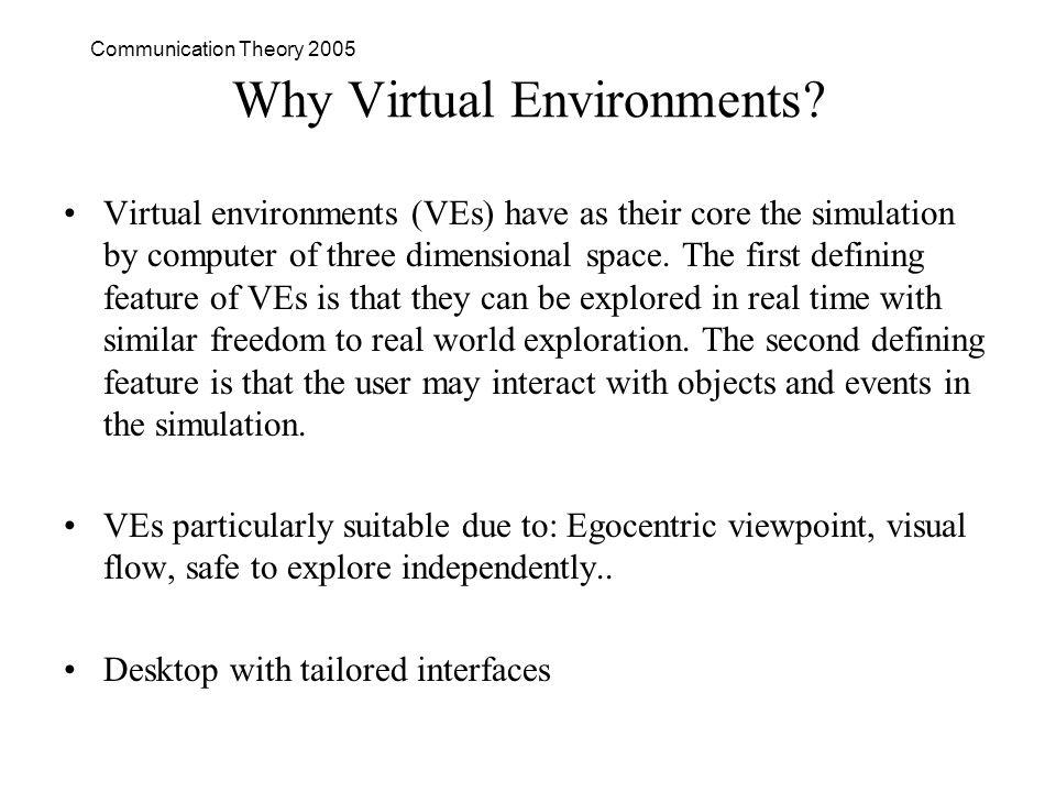 Communication Theory 2005 Why Virtual Environments.