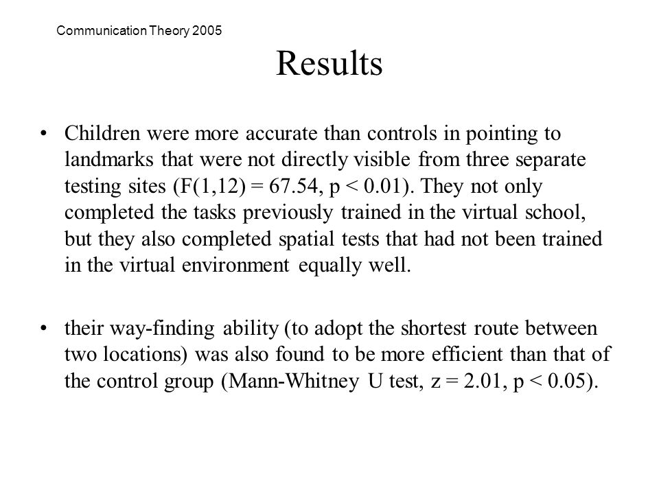 Communication Theory 2005 Results Children were more accurate than controls in pointing to landmarks that were not directly visible from three separate testing sites (F(1,12) = 67.54, p < 0.01).