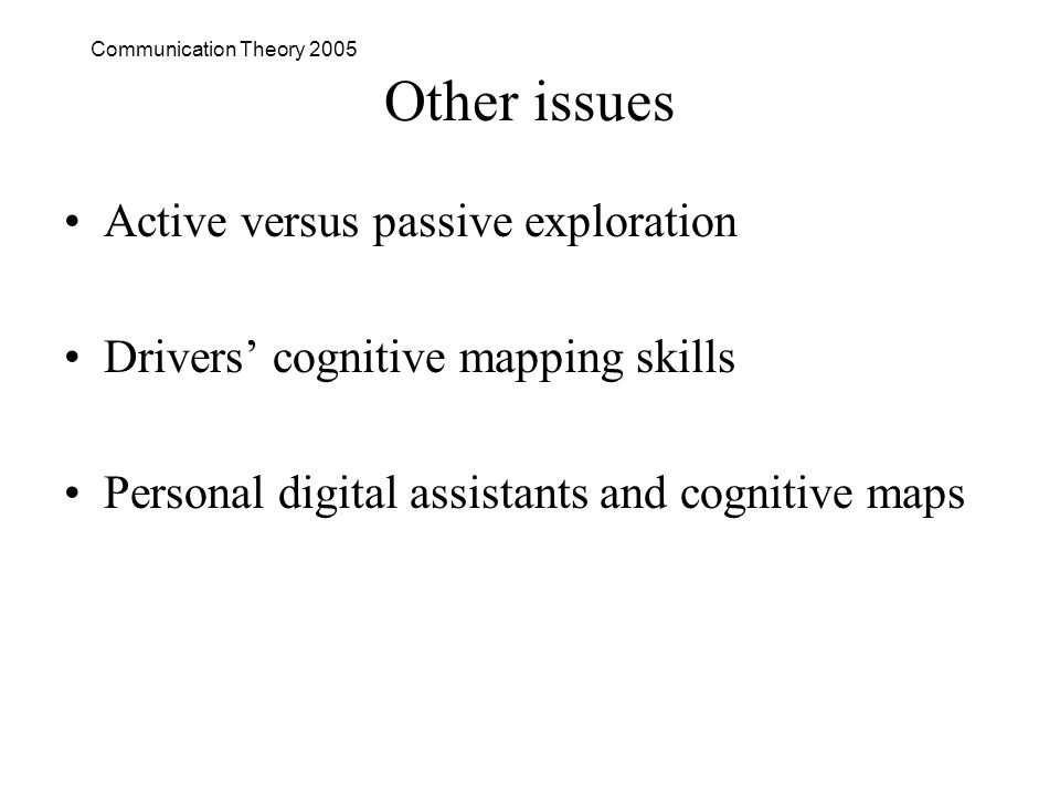 Communication Theory 2005 Other issues Active versus passive exploration Drivers cognitive mapping skills Personal digital assistants and cognitive maps