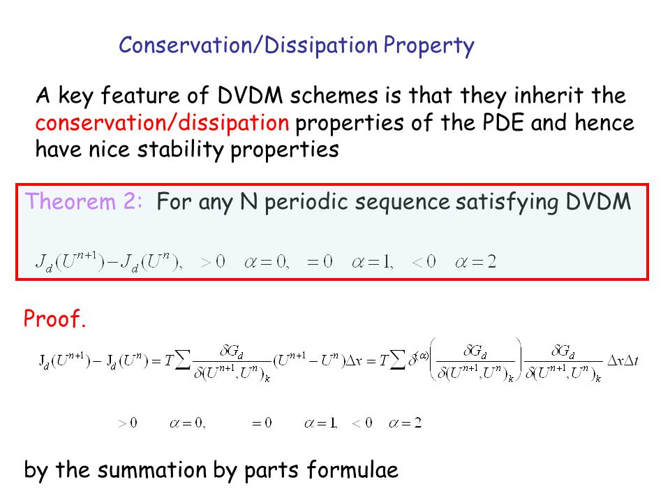 Conservation/Dissipation Property A key feature of DVDM schemes is that they inherit the conservation/dissipation properties of the PDE and hence have