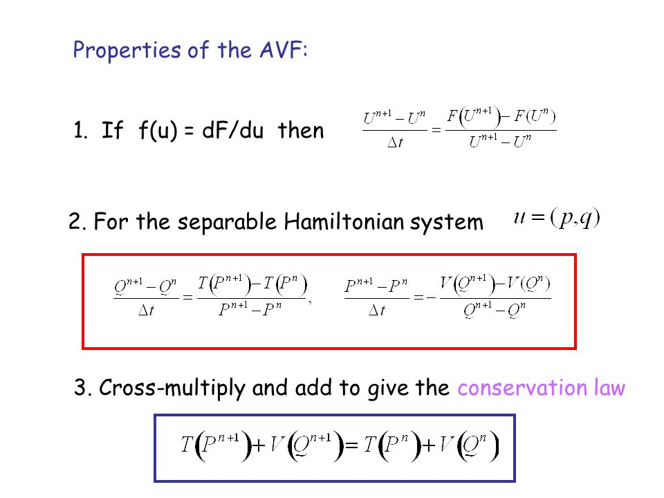 Properties of the AVF: 1.If f(u) = dF/du then 2. For the separable Hamiltonian system 3.