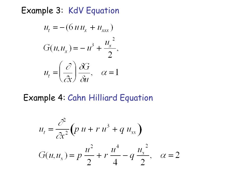 Example 3: KdV Equation Example 4: Cahn Hilliard Equation