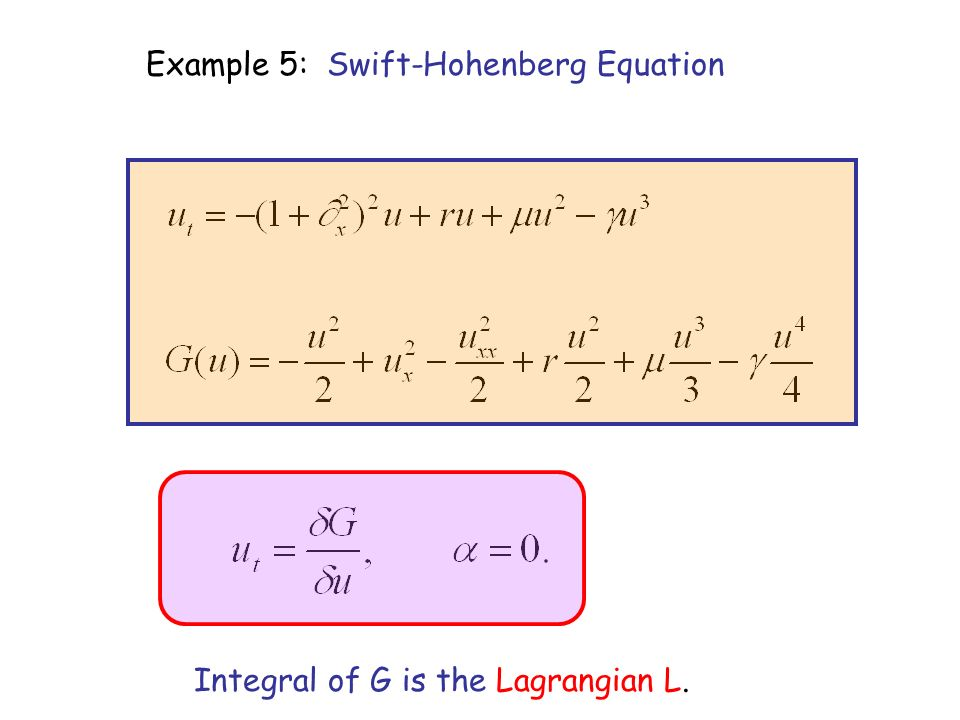 Example 5: Swift-Hohenberg Equation Integral of G is the Lagrangian L.