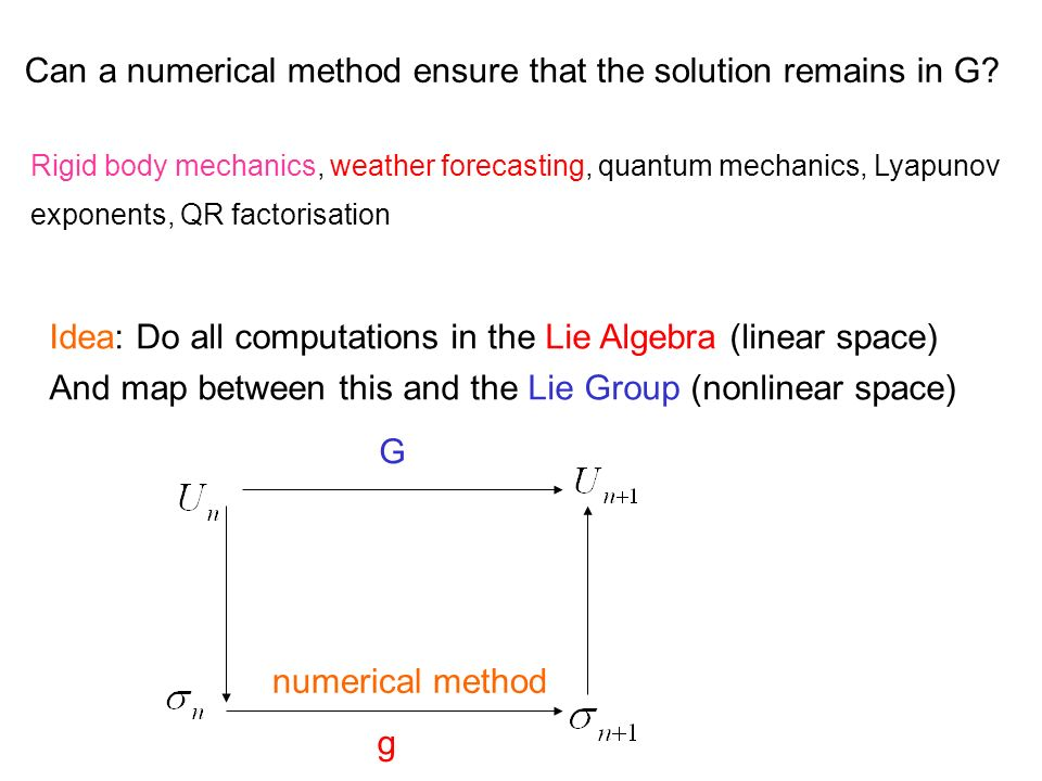 Can a numerical method ensure that the solution remains in G? Rigid body mechanics, weather forecasting, quantum mechanics, Lyapunov exponents, QR fac