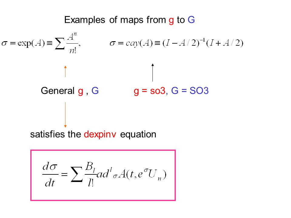 Examples of maps from g to G General g, G g = so3, G = SO3 satisfies the dexpinv equation