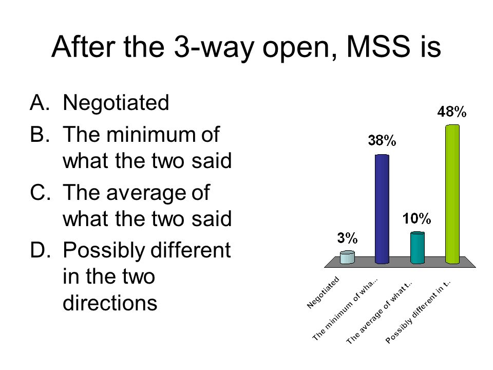 After the 3-way open, MSS is A.Negotiated B.The minimum of what the two said C.The average of what the two said D.Possibly different in the two directions
