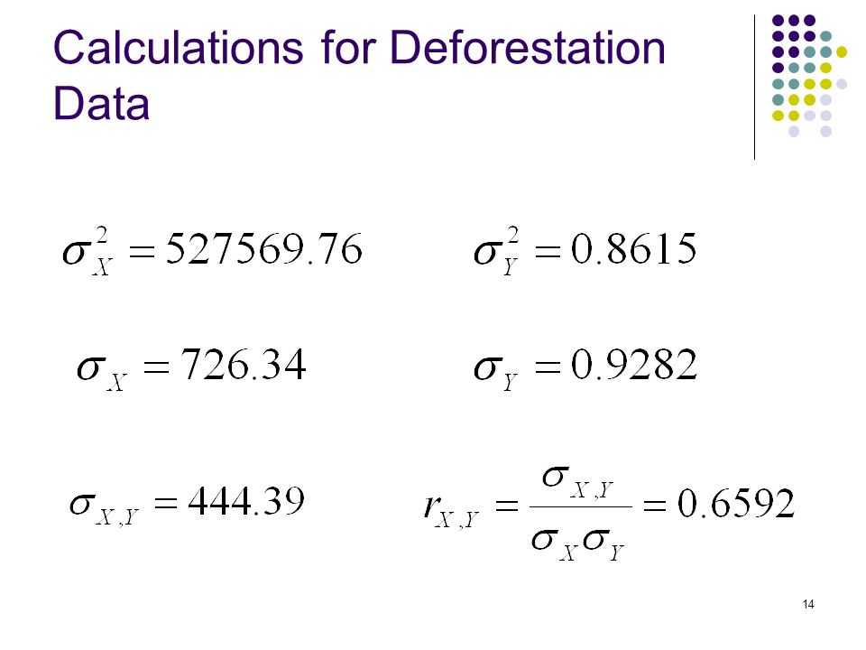 14 Calculations for Deforestation Data