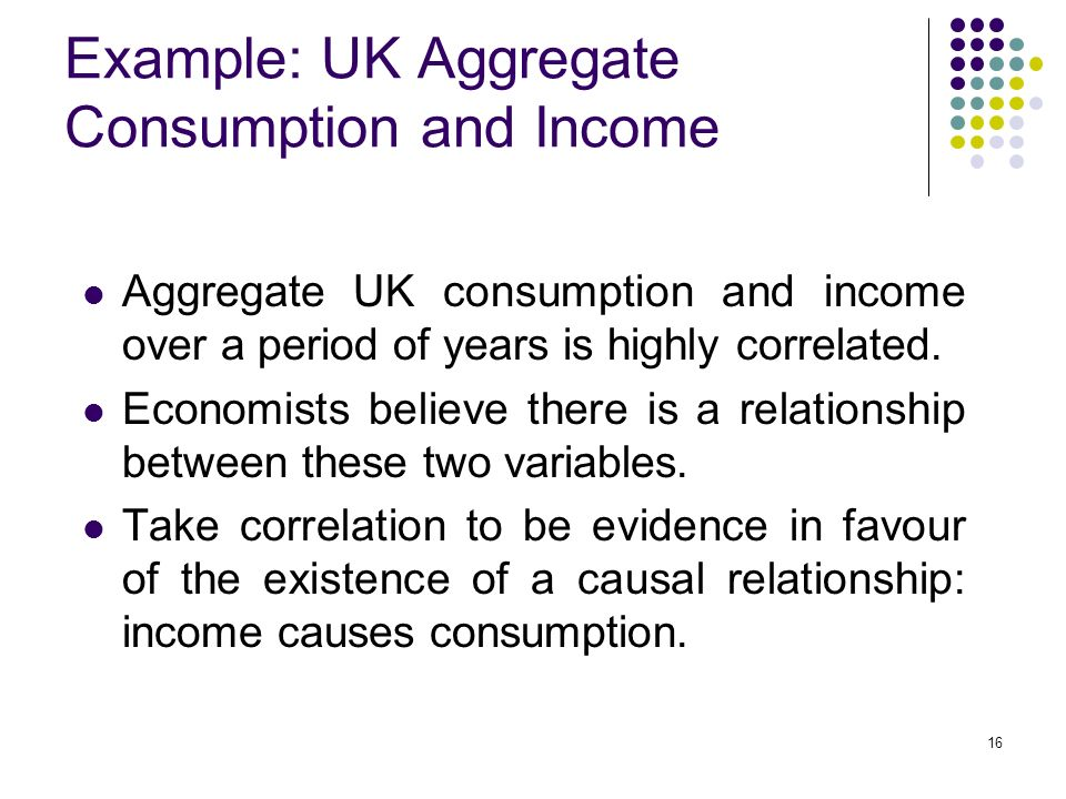 16 Example: UK Aggregate Consumption and Income Aggregate UK consumption and income over a period of years is highly correlated.