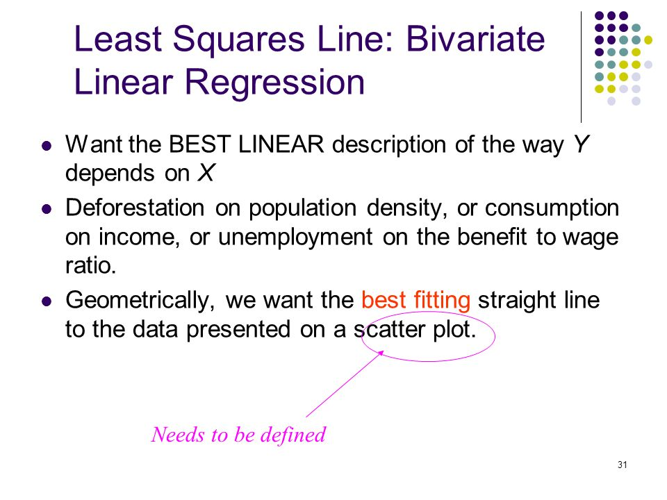 31 Least Squares Line: Bivariate Linear Regression Want the BEST LINEAR description of the way Y depends on X Deforestation on population density, or consumption on income, or unemployment on the benefit to wage ratio.
