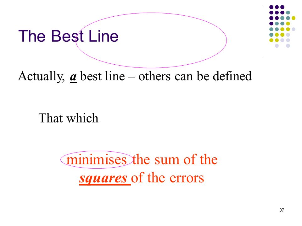 37 The Best Line Actually, a best line – others can be defined That which minimises the sum of the squares of the errors