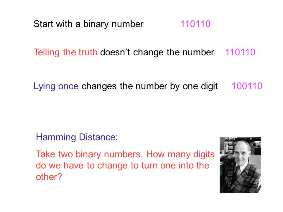 0 000 000 1 001 110 2 010 011 3 011 101 4 100 101 5 101 011 6 110 110 7 111 000 Binary number Correcting number