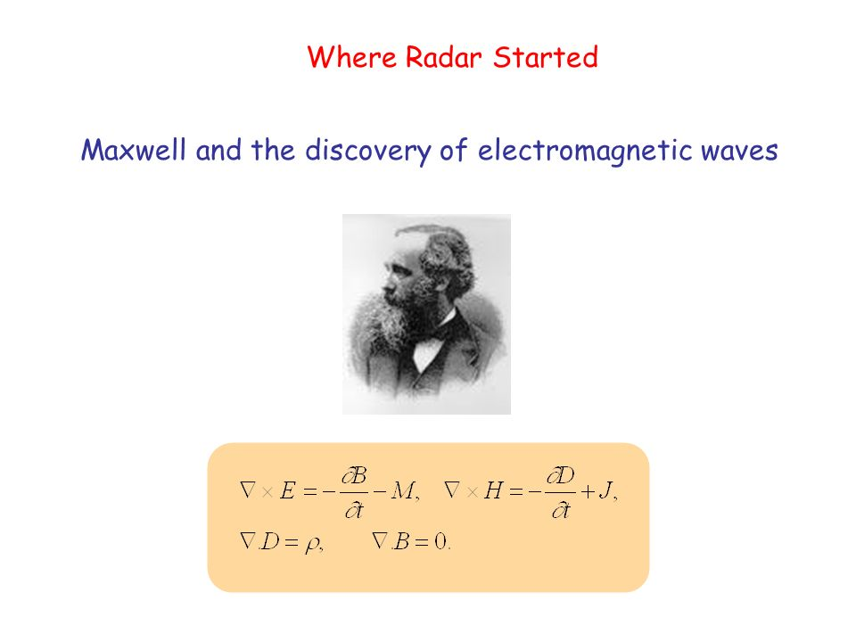 Where Radar Started Maxwell and the discovery of electromagnetic waves