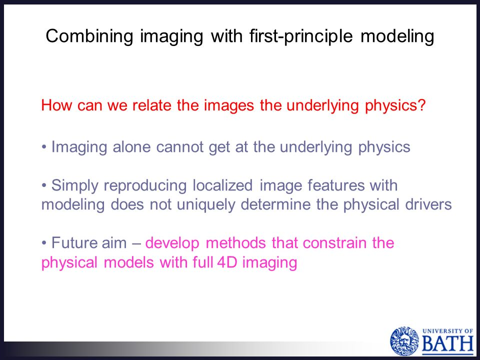 Combining imaging with first-principle modeling How can we relate the images the underlying physics.