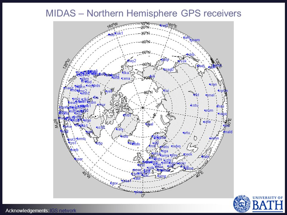 Acknowledgements: IGS network MIDAS – Northern Hemisphere GPS receivers