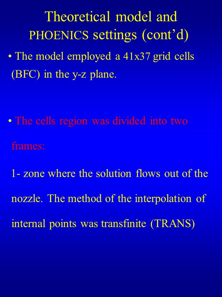 Theoretical model and PHOENICS settings (contd) The model employed a 41x37 grid cells (BFC) in the y-z plane.