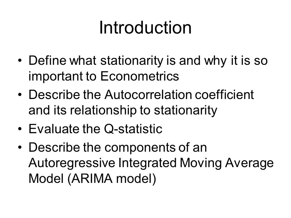Stationarity A strictly stationary process is one where the distribution of its values remains the same as time proceeds, implying that the probability lies in a particular interval is the same now as at any point in the past or the future.
