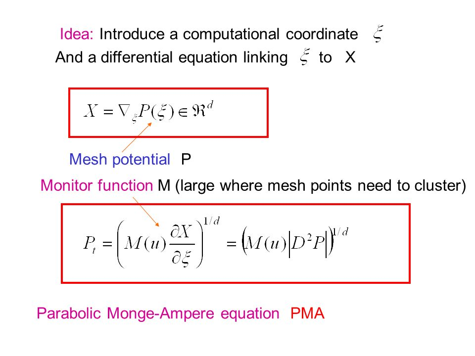 Idea: Introduce a computational coordinate And a differential equation linking to X Mesh potential P Monitor function M (large where mesh points need