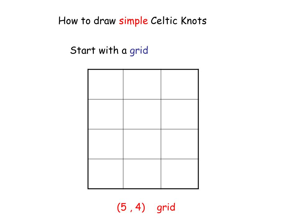How to draw simple Celtic Knots Start with a grid (5, 4) grid