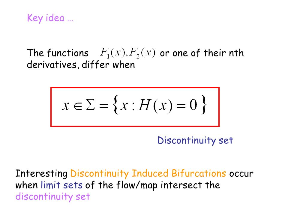 Key idea … The functions or one of their nth derivatives, differ when Discontinuity set Interesting Discontinuity Induced Bifurcations occur when limi