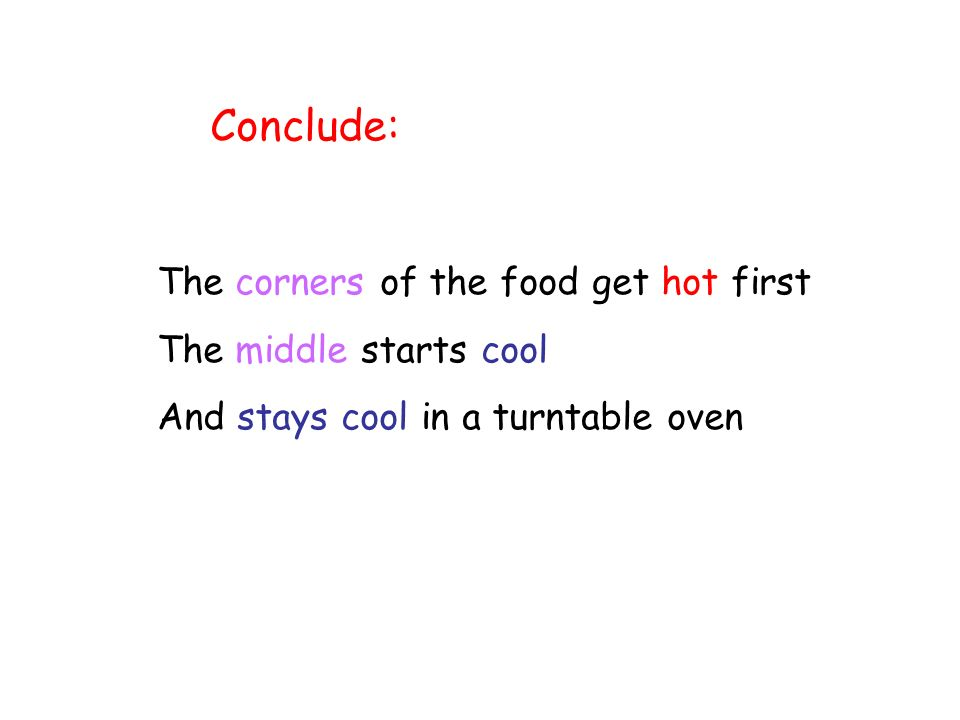 Conclude: The corners of the food get hot first The middle starts cool And stays cool in a turntable oven