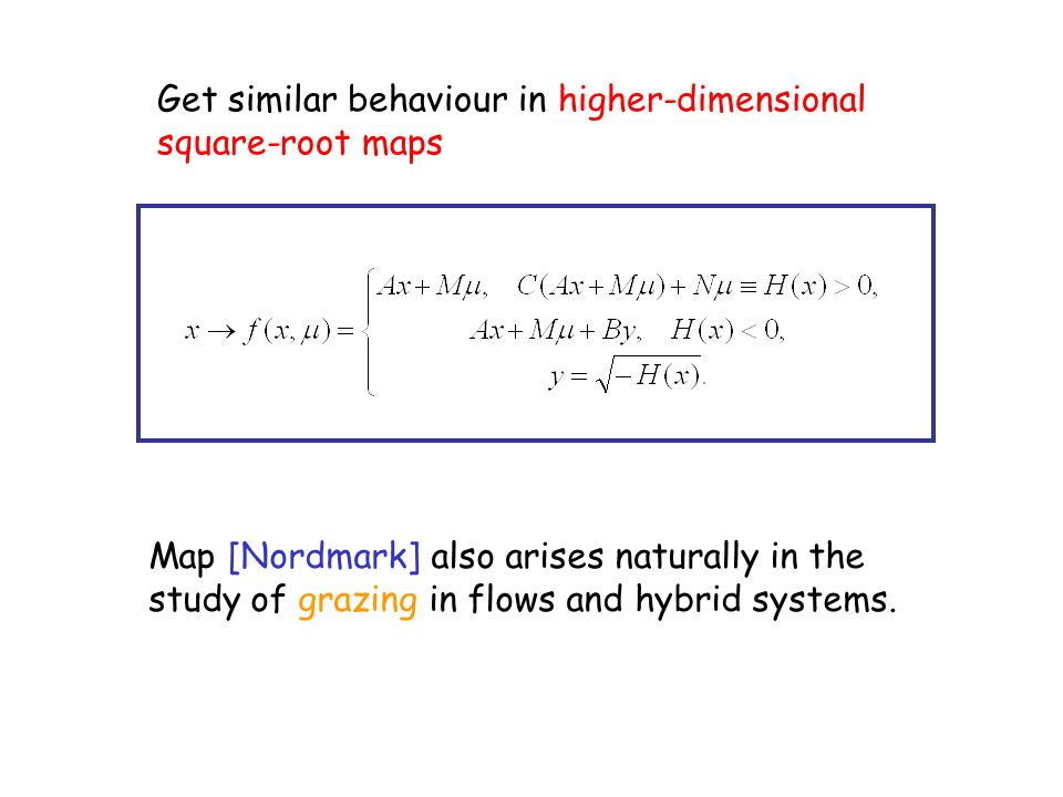 Get similar behaviour in higher-dimensional square-root maps Map [Nordmark] also arises naturally in the study of grazing in flows and hybrid systems.