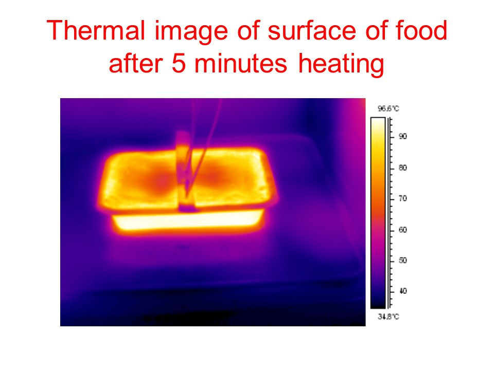 Thermal image of surface of food after 5 minutes heating