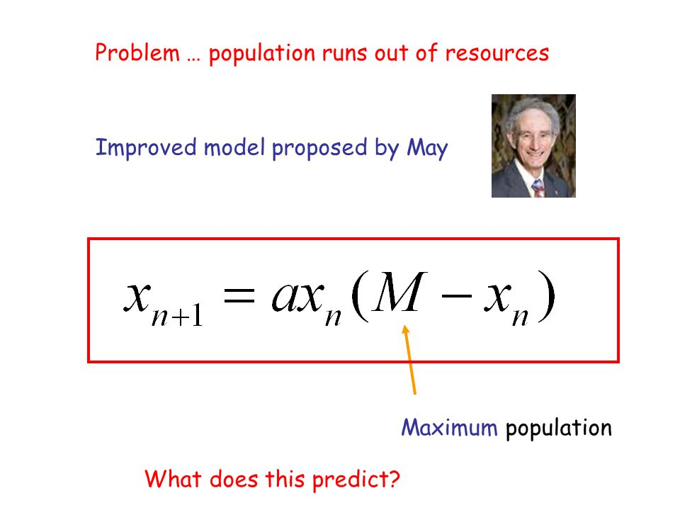 Problem … population runs out of resources Improved model proposed by May Maximum population What does this predict?