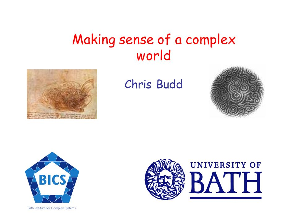 Making sense of a complex world Chris Budd