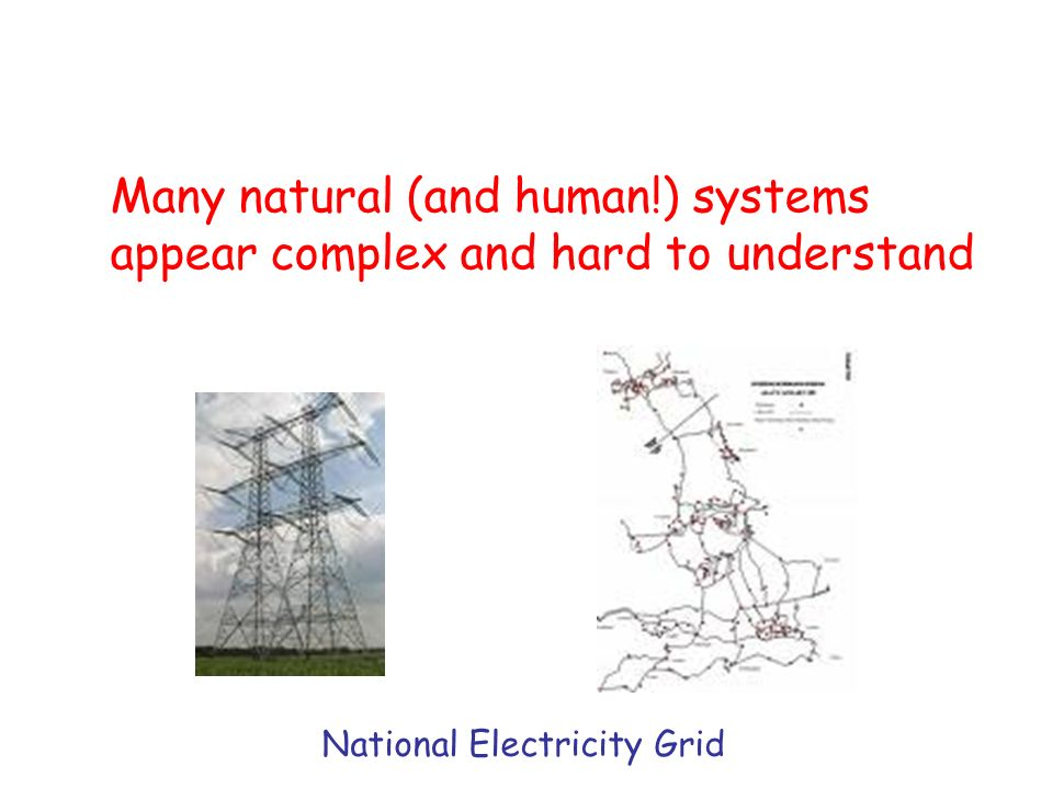 Many natural (and human!) systems appear complex and hard to understand National Electricity Grid