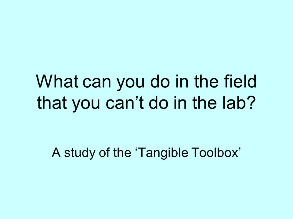 What can you do in the field that you cant do in the lab A study of the Tangible Toolbox