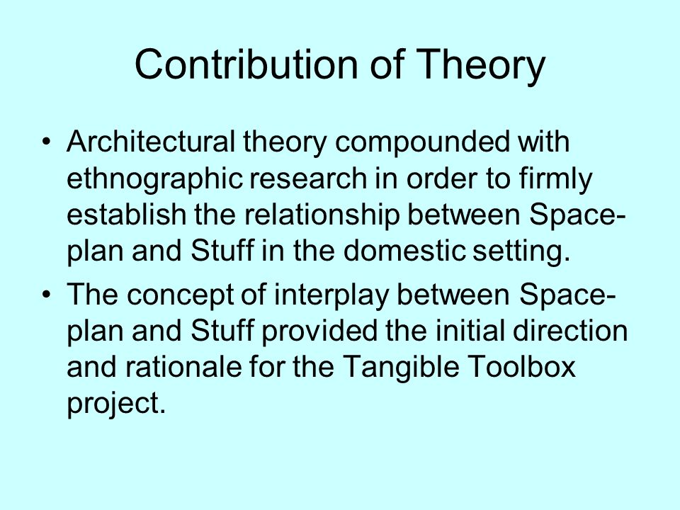 Contribution of Theory Architectural theory compounded with ethnographic research in order to firmly establish the relationship between Space- plan and Stuff in the domestic setting.