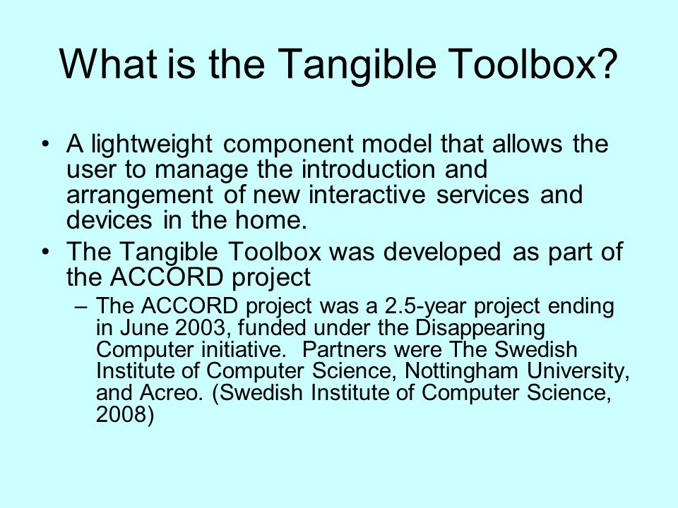 What is the Tangible Toolbox.
